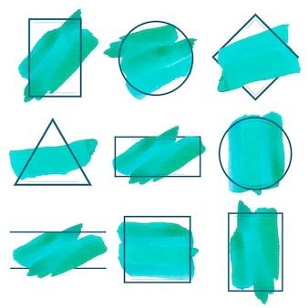 Набор векторных векторов зеленого акварельного баннера