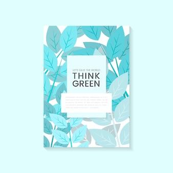 Подумайте зеленый вектор плаката охраны окружающей среды