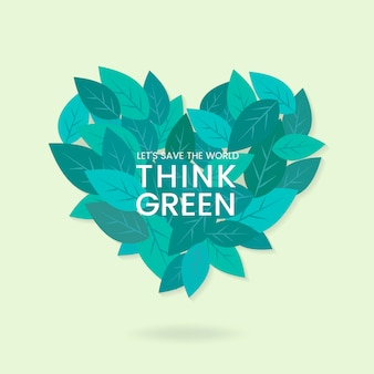 Думайте зеленый вектор сохранения окружающей среды