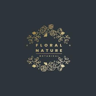 花の自然のバッジのデザインベクトル