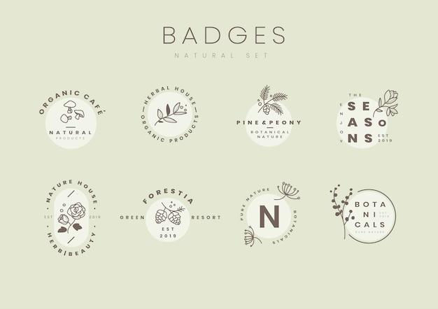 植物ロゴデザインベクトルのセット