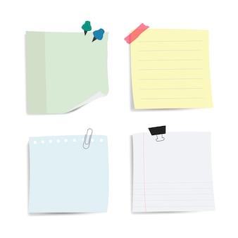 空白のメモ紙のメモベクトルセット