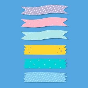 カラフルなパターンの粘着テープベクトルセット