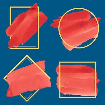 赤い水彩バナーデザインベクトルのセット