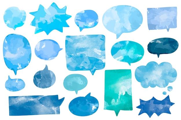 Набор акварельных речевых пузырьков вектор