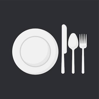 Белая тарелка и посуда набор векторных иллюстраций