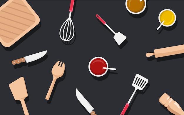 キッチン用品と成分ベクトルセット