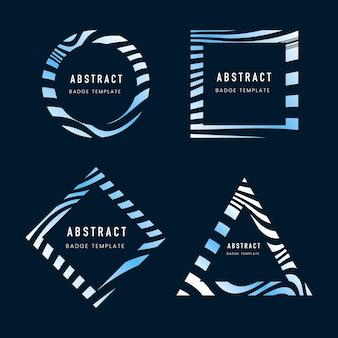 青の抽象的なバッジテンプレートベクトルのセット