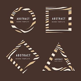 茶色の抽象的なバッジテンプレートベクトルのセット