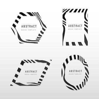 黒と白の抽象的なバッジベクトルのコレクション