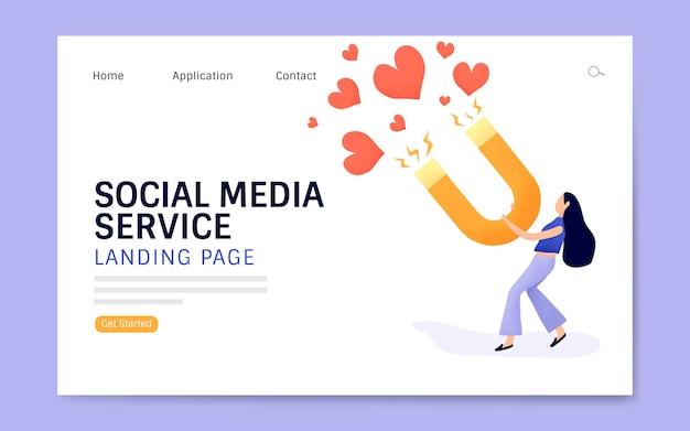 ソーシャルメディアサービスのランディングページのレイアウトベクトル
