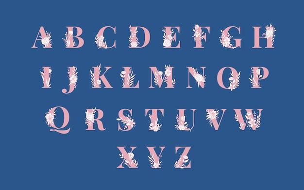 植物アルファベット大文字ベクトルセット