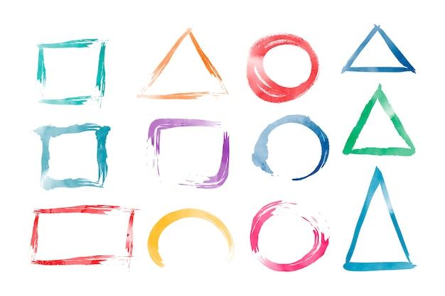 水彩色の幾何学形状ベクトルセット