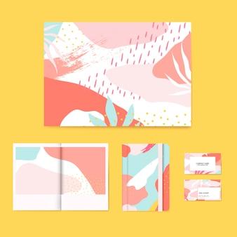カラフルなメンフィスデザインのレイアウトベクトルセット