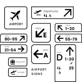 空港標識アイコンベクトルセット