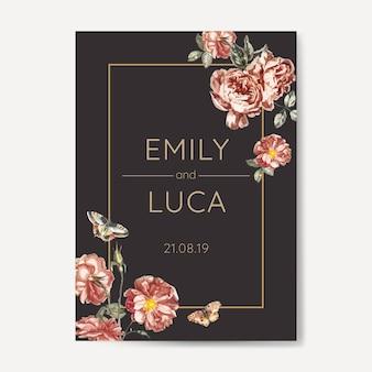 Цветочный свадебный макет приглашения
