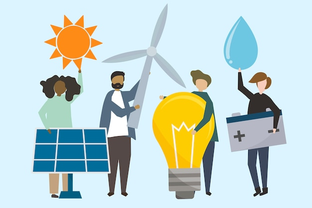 Люди с иллюстрациями о возобновляемых источниках энергии