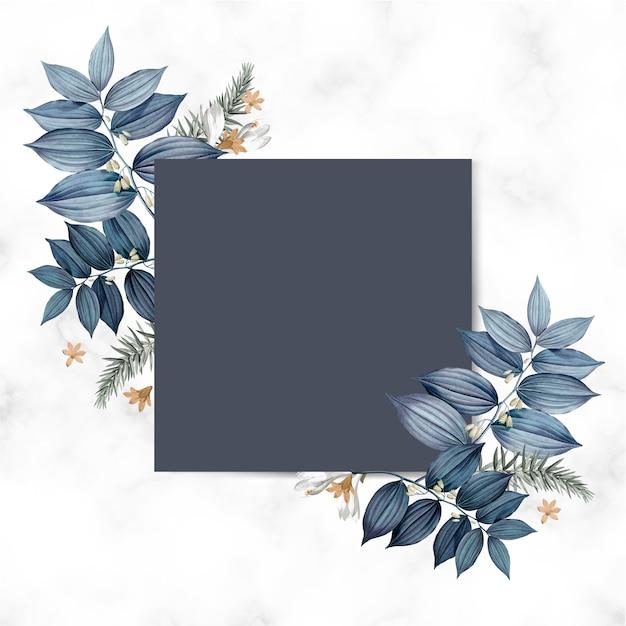 青い花のブランクの正方形のカードデザイン