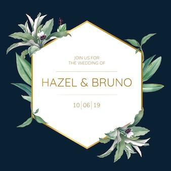 緑の葉のデザインベクトルと結婚式招待状
