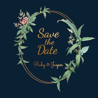 緑の葉ベクトルと結婚式招待状
