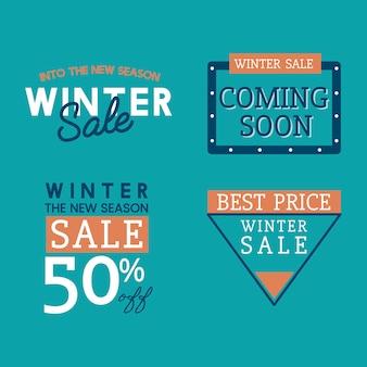 冬の販売バッジベクトルのセット