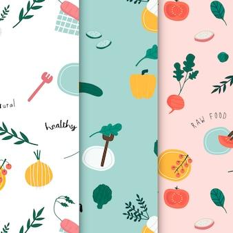 健康なビーガンの食べ物の壁紙ベクトル