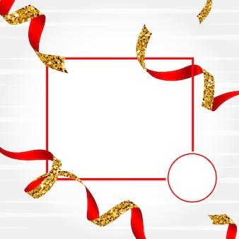 Пустая золотая и красная эмблема с вектором конфетти