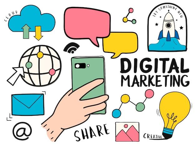 手描きのデジタルマーケティングシンボルイラストのセット