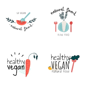 Набор здоровых векторов логотипа вегана