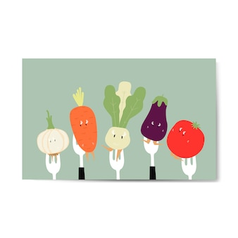 Мультфильмы из свежих овощей на вилке