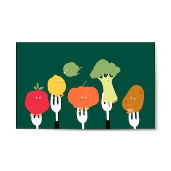 フォーク上の新鮮な有機野菜の漫画