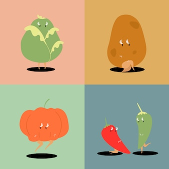 新鮮な野菜の漫画の文字セットベクトル