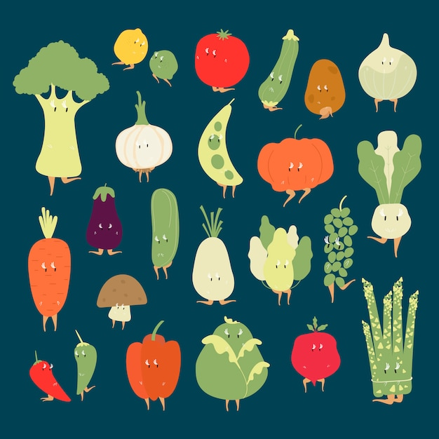 様々な有機野菜の漫画の文字ベクトルセット
