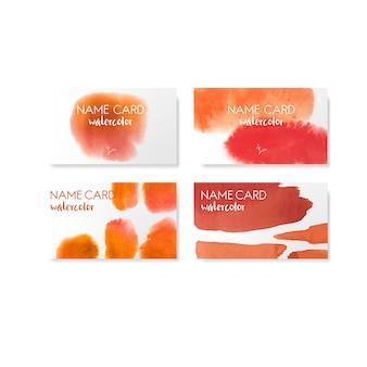 オレンジ色の水彩画カードベクトルセット