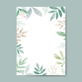 コピースペースデザインの水彩葉