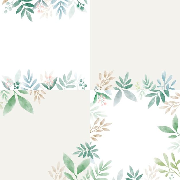Набор листьев в акварели с копией пространства