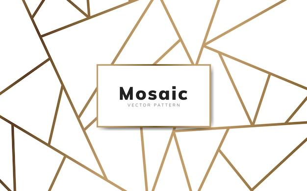 白と金のモダンモザイク壁紙