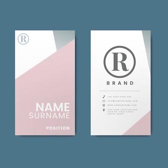 Минимальный современный дизайн визитной карточки с геометрическими элементами