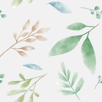水彩の緑の葉パターンベクトル