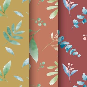 水彩葉のパターンベクトルのセット