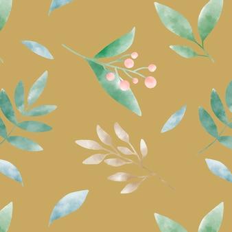 マスタード黄色の水彩葉パターンベクトル