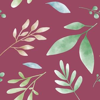 赤いベクトル上の水彩葉のパターン