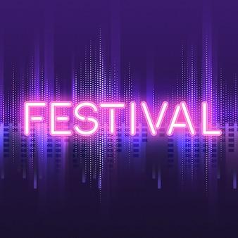 ピンク祭りネオンサインボードベクトル