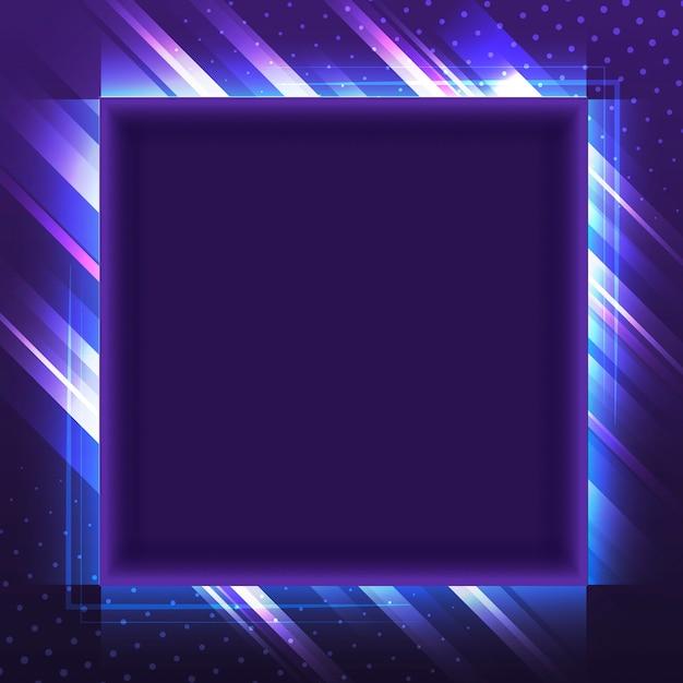 空白の紫色の四角形のネオン看板ベクトル