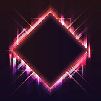 空の赤い四角形のネオン看板ベクトル