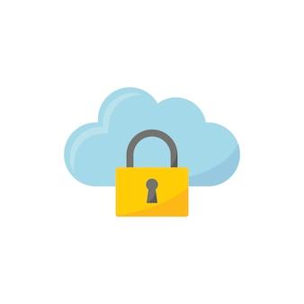 雲のセキュリティアイコンのイラスト