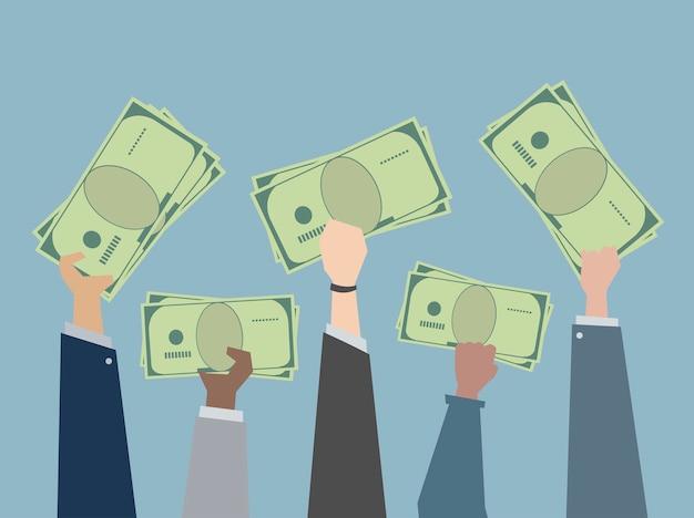 Деловые люди, держащие деньги иллюстрации