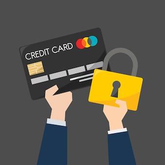 クレジットカードと保護のビジネスマン