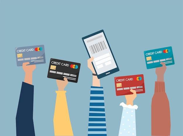Люди, держащие иллюстрации кредитных карт