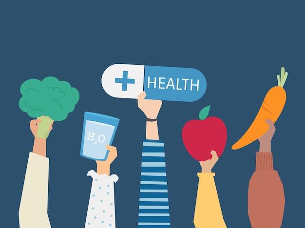 Люди, держащие иллюстрации символов здоровья